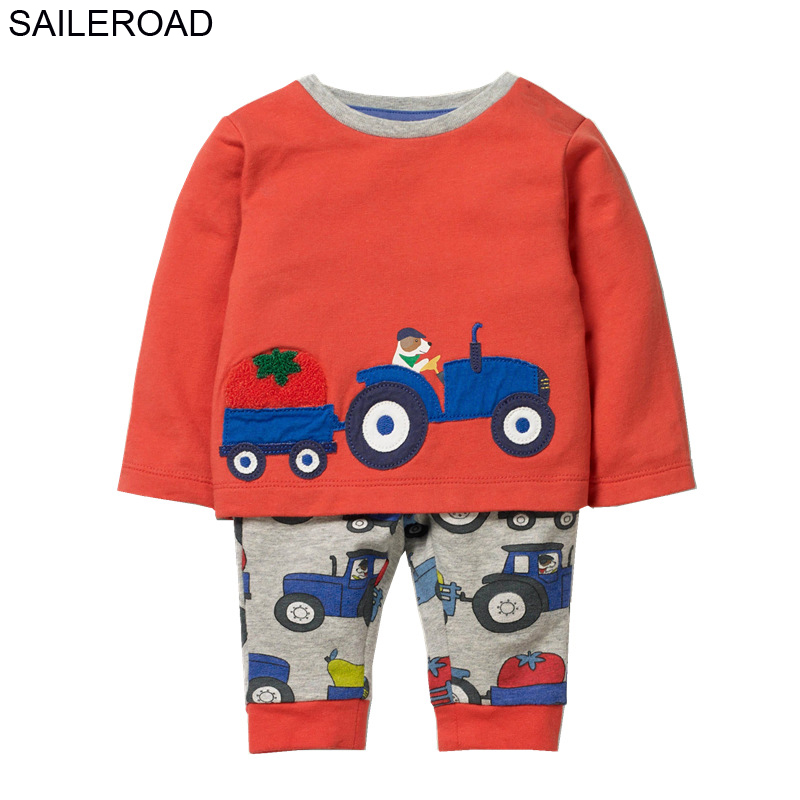 SAILEROAD Children's Clothing Sets Fall 2020 Boys Boutique Outfit Sets Animal Dog Drive Cars Cotton Clothes for Kids Kit Garment|Clothing Sets|   - AliExpress