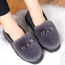Soft Fur plus Bow Warm Shoes Women Fashion Flat Heel Round Head Peas Shoes Winter Cotton slippers Warmer Hiking Snow Boots 2019(China)