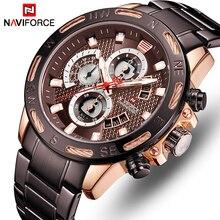 NAVIFORCE أعلى العلامة التجارية ووتش أزياء الرجال الساعات الرياضية للماء الكوارتز ساعة اليد كرونوغراف تاريخ الذكور ساعة Relogio Masculino