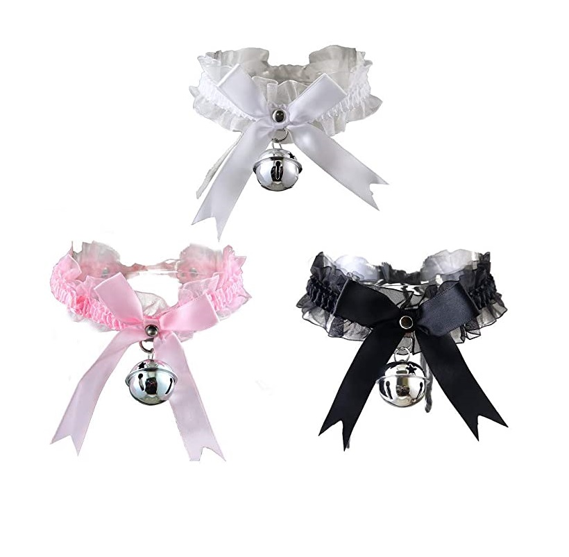 New Adjustable Lace Choker with Bell Sweet Cute Gothic Choker Necklaces Collar for Women Girls Detachable Cosplay Party Jewelry