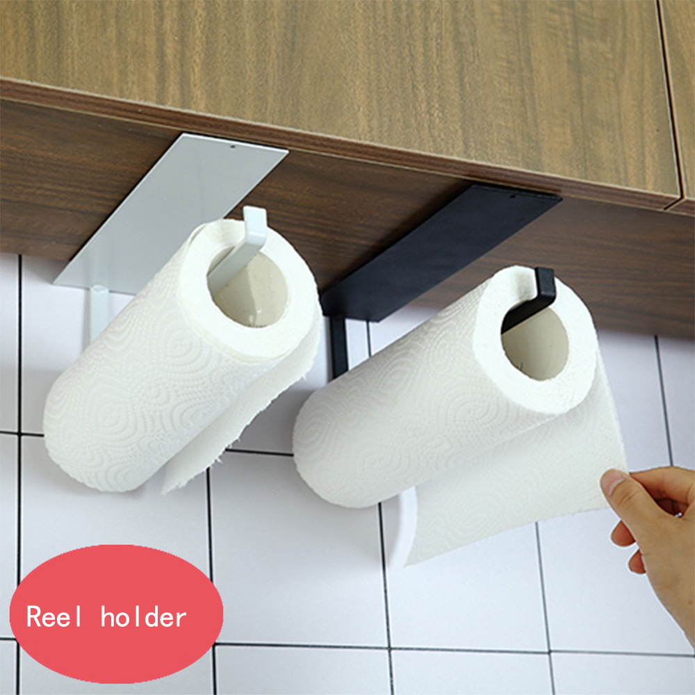 Kitchen Self-Adhesive Accessories Under Cabinet Paper Roll Rack Towel Holder Tissue Hanger Storage Rack For Bathroom Toilet