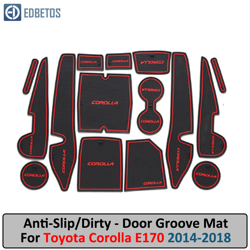 Anti-Slip Mat For Toyota Corolla 2014 2015 2016 2017 2018 E170 Corolla Altis Gate Slot Coaster Anti-Dirty Door Groove Mat
