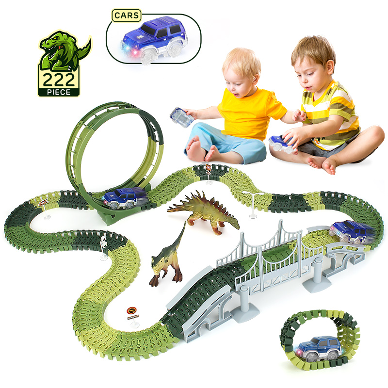 222 Pcs Dinosaur Track Racing Car Toys   Magical Flash Light Race Car Bridge Road sign 360° Stunt Loop Railway Car Toy for kids|Diecasts & Toy Vehicles|   -
