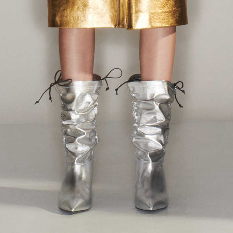 Prova Perfetto Iki Yolu Giymek Yenilik Kat Patent Deri Kadın Diz Yüksek Çizmeler Seksi Sivri Burun Yüksek Topuk Ayak Bileği dans Botları