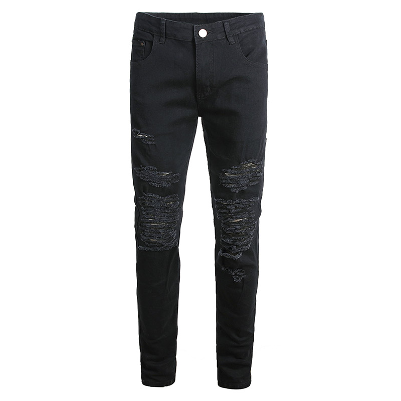 KIOVNO Men's Ripped Skinny Denim Trousers Washed Knee Holes Casual Jeans Pants For Male Black Color