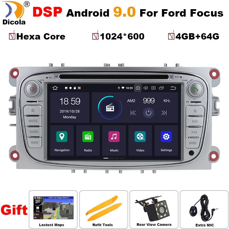 PX6 Hexa Core DSP 2 Din 7 Inch Car DVD Player Android 9.0 For <font><b>FORD</b></font>/Focus/S-<font><b>MAX</b></font>/Mondeo/<font><b>C</b></font>-<font><b>MAX</b></font>/Galaxy Wifi <font><b>GPS</b></font> Navigation Radio USB image