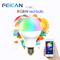 FEICAN RGBW WIFI LED Bulb Dimmable LED Lamp RC Colorful Light 240V 7W 9W Support IOS/Android APP Control E27 Version LED Lamp