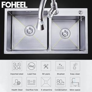 Image 5 - FOHEEL Kitchen Sink Double bowl Kitchen Sink Drain Basket And Drain Pip Rectangular  Stainless Steel