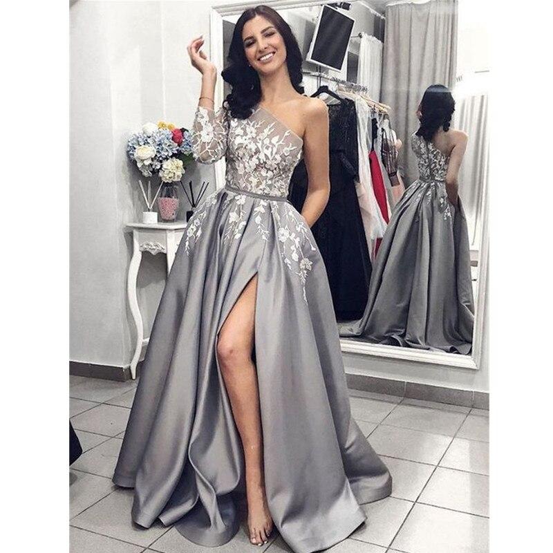 Gris Satin robe de soirée 2020 a-ligne Sexy fendu blanc dentelle longue robes de bal avec poches une épaule manches longues robe de bal