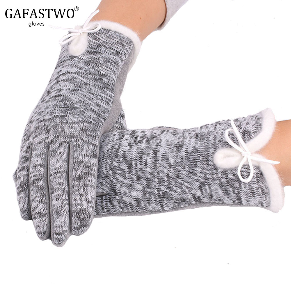 New Autumn And Winter Not Falling Velvet Touch Screen Ladies Gloves Outdoor Leisure Riding Plus Velvet Warm Gloves