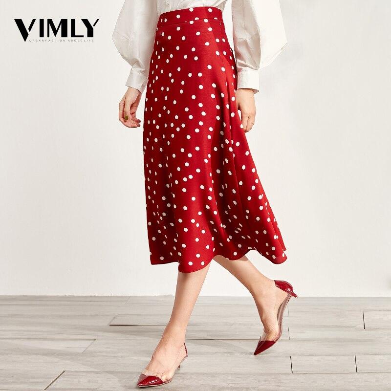 Vimly Vintage Polka Dot Print Skirt For Women Office Ladies Midi Chiffon Skirt Sweet A Line Street Wear Skirts
