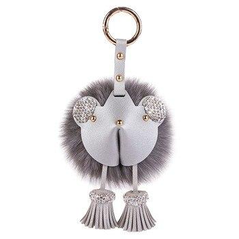 Fox fur ball doll pendant real fur men's and women's car key chain bear fur nag pendant with tassel cute little mouse pendant