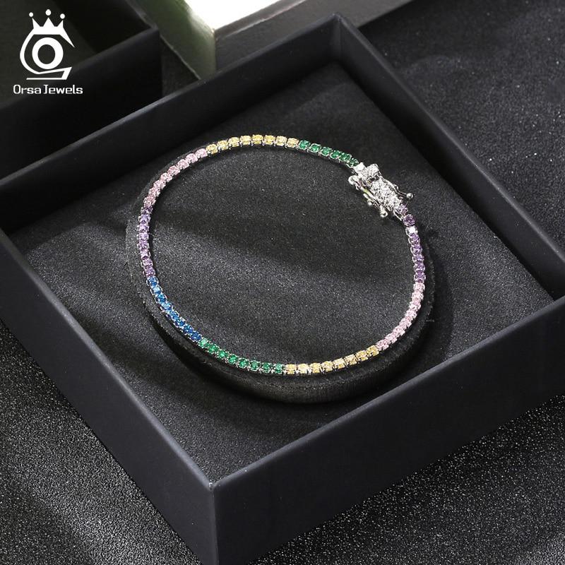 Cubic Zirconia Tennis Chain Bracelets Jewelry 925 Wedding Bracelet for Women Men Sterling Silver Cuff Bracelets Rainbow Chain(China)