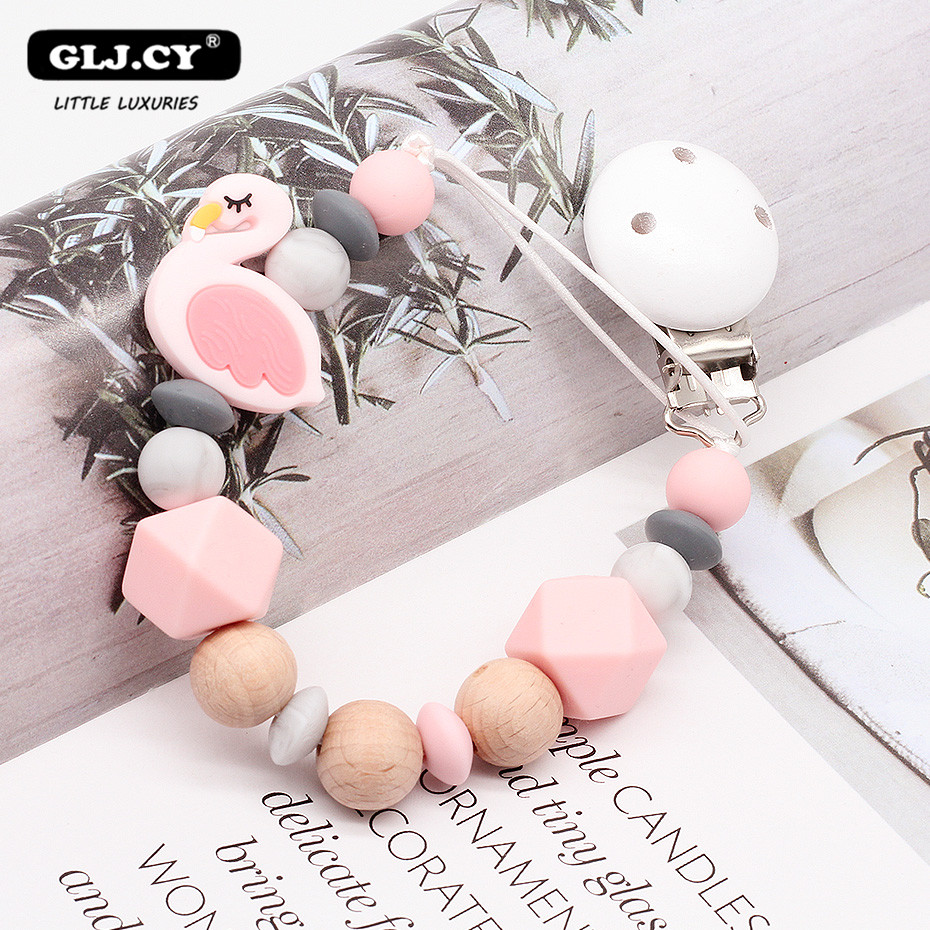 Baby Pacifier Clips Attache Tetine Dummy Clip Silicone Beech Wood Bead Animal Swan Silicone Pendant  Holder Chain Baby Gift