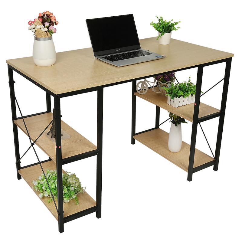 110*60*75 Upgraded Desk Four-shelf Steel-wood Wood Computer Desks Modern Study Writing Desk Suitable For Office Bedroom Study