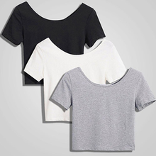 Однотонная женская Повседневная летняя футболка с коротким рукавом до пупка, женская футболка 2020, футболка, облегающий Топ, футболка, Пряма...