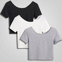 Manga curta umbigo sólido feminino casual verão t camisa menina 2020 t camisa camisa de topo apertado camiseta transporte da gota