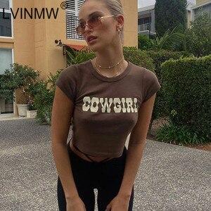 LVINMW Letter Printed Casual Basic Crew Neck Short Sleeve Tops Women Slim Fashion Simple Cotton Tees Summer Crop Top Streetwear