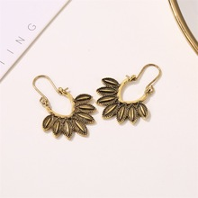 Vintage Antique Silver Gold Dangle Earrings For Women Ethnic Retro Leaves Pendant Big Drop Earring Female Gypsy Indian Jewelry