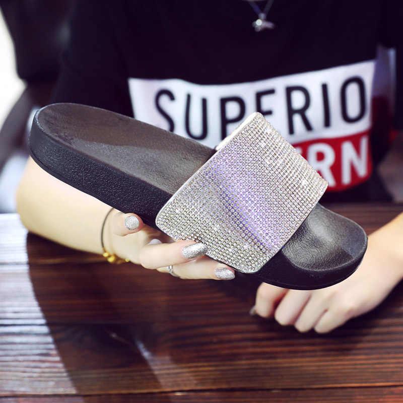 Strass chinelos femininos flip flops verão slides mulher sapatos de cristal diamante bling praia slides sandálias casuais deslizamento em