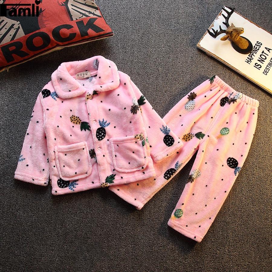 Famli/Детская Пижама для девочек; теплая зимняя фланелевая одежда для сна; Детские пижамные комплекты из плотного флиса с длинными рукавами и