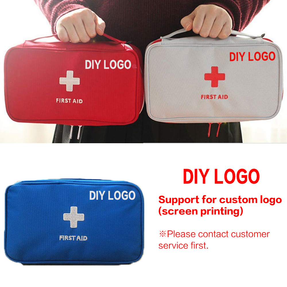 DIY LOGO on First Aid Kit For Medicines Outdoor Camping Medical Bag Empty Survival Handbag Emergency Kits Travel Set Portable(China)