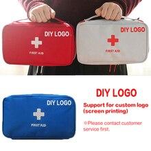 DIY 로고 응급 처치 키트 의약품 야외 캠핑 의료 가방 빈 생존 핸드백 응급 키트 여행 세트 휴대용