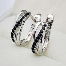 Vintage Female Black Square Crystal Earrings Trendy Silver Color Clip Earrings For Women Elegant Bridal Hollow Wedding Earrings pair of elegant faux gem clip earrings for women