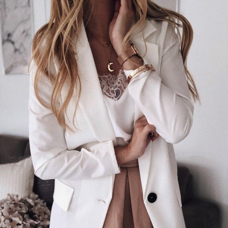 Vintage Blazer Solid Jacket Women Single Button Evening Party Notched White Cape Blazer Women Jacket Blazer
