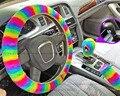 3 шт.  плюшевый Радужный чехол на руль для женщин  супер мягкий теплый зимний чехол из искусственного кроличьего меха для стайлинга автомоби...
