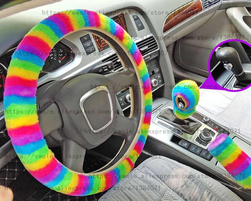 3Pcs Plush Rainbow Steering Wheel Cover for Women Super Soft Faux Rabbit Fur Warm Winter car Styling Interior