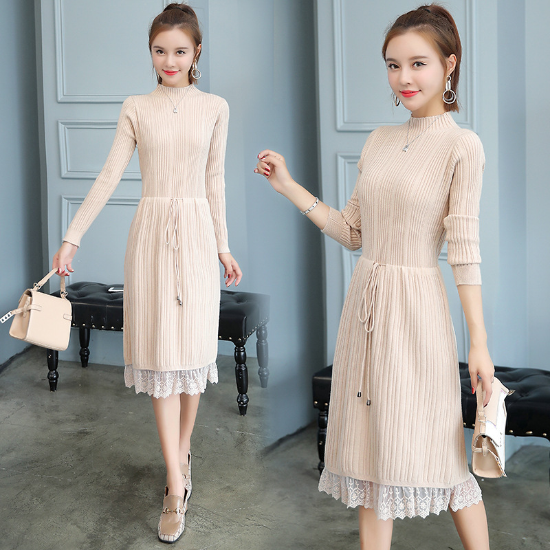 Elegant Ladies' Mid-length Lace Joint Half-Turtle-Neck Slimming Jersey Dress-Style Base Skirt