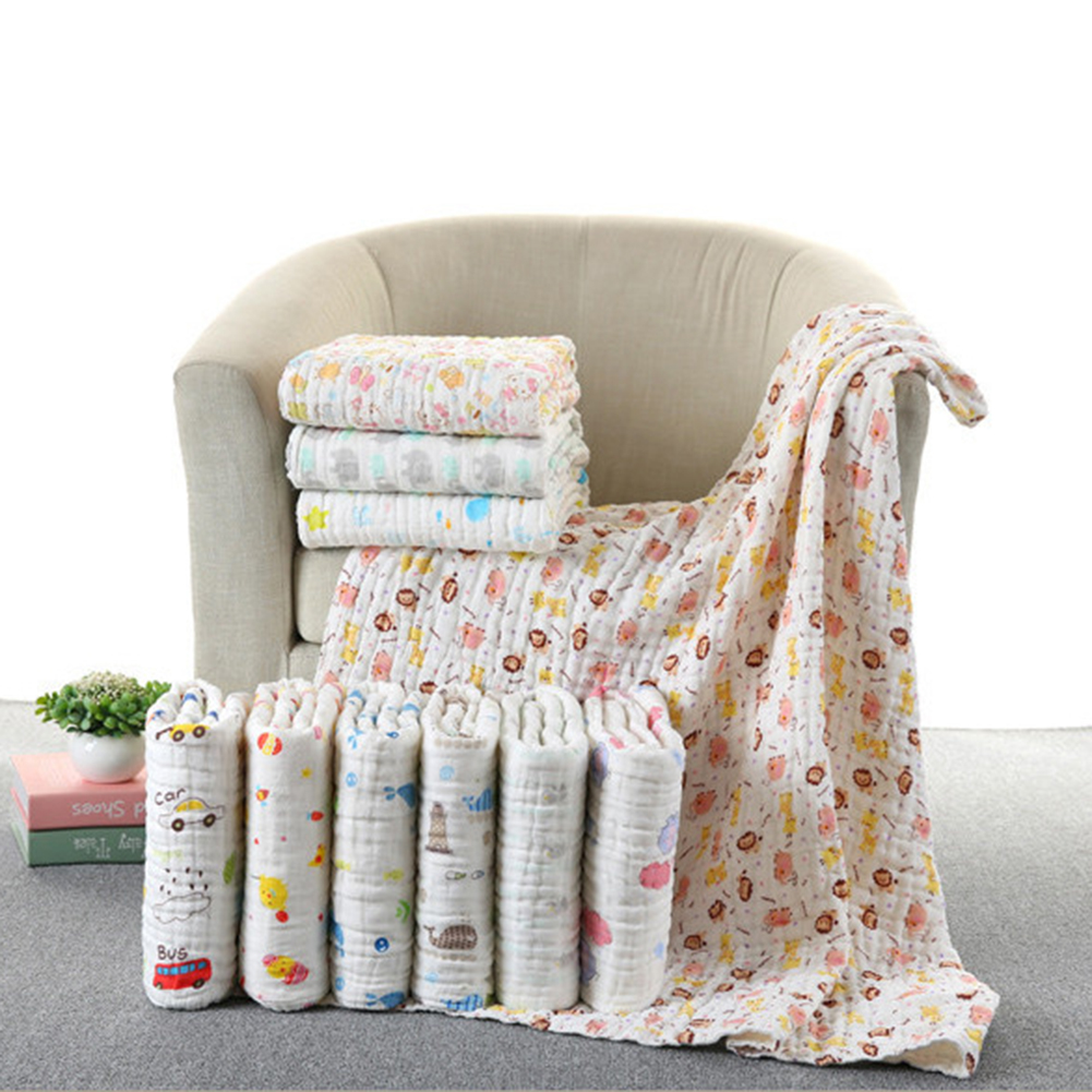 Newborn Blankets Soft Muslin Cotton Bath Gauze Infant Wrap Sleep Sack  Baby Swaddles 6 Layers Stroller Cover Mat Pad D4