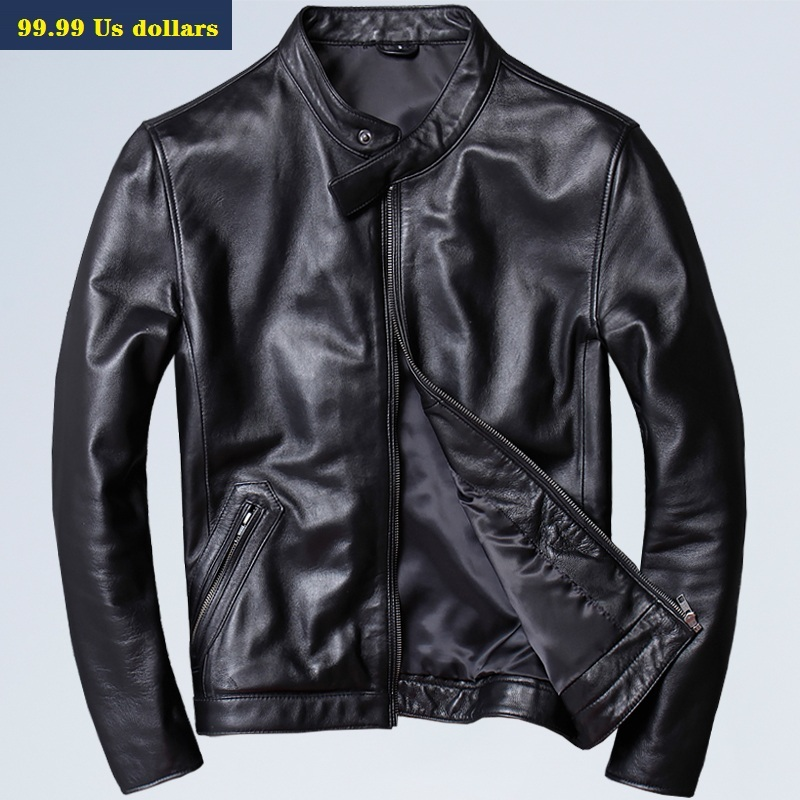 Free Shipping.Men Slim Genuine Leather Jacket,fashion Brand Plus Size Mens Cowhide Coat,handsome Casual Style Jackets,sales