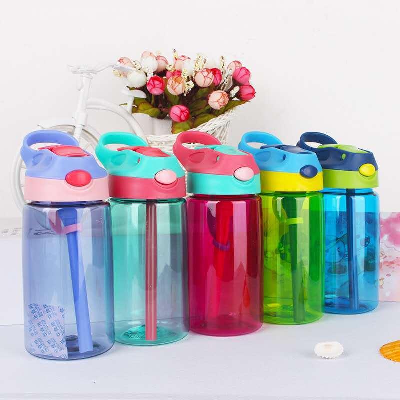 430ml Baby Cartoon Feeding Cup With Straw Thicken Kids Children Learn Feeding Drinking Water Straw Bottle Training Straw Cup