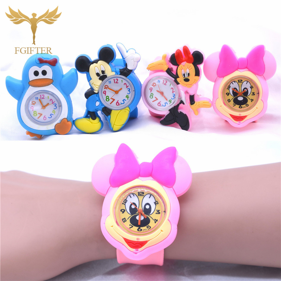 Cute Kids Toys Plastic Watches Rubber Automatic Belt Cartoon Clock Electronic Watch 1-7 Years Old Boy Girl Children Toy Gifts