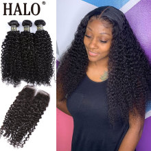 Halo Hair Kinky Curly Bundles With Closure Brazilian Non Remy Human Hair 3 4 Bundles With Lace Closure Hair Extension