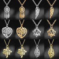 100% acier inoxydable Yoga OM plume breloque colliers pour les femmes en gros arbre de vie capteur de rêves délicat bijoux livraison directe