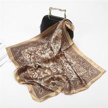 ผ้าพันคอผ้าไหมซาตินผ้าพันคอผ้าพันคอผู้หญิงฤดูร้อนกระเป๋าสแควร์ขนาดเล็กห่อBohemian Retro Paisleyผ้าพันคอสุภาพสตรีอินเดียมุสลิมอิสลามKerchief
