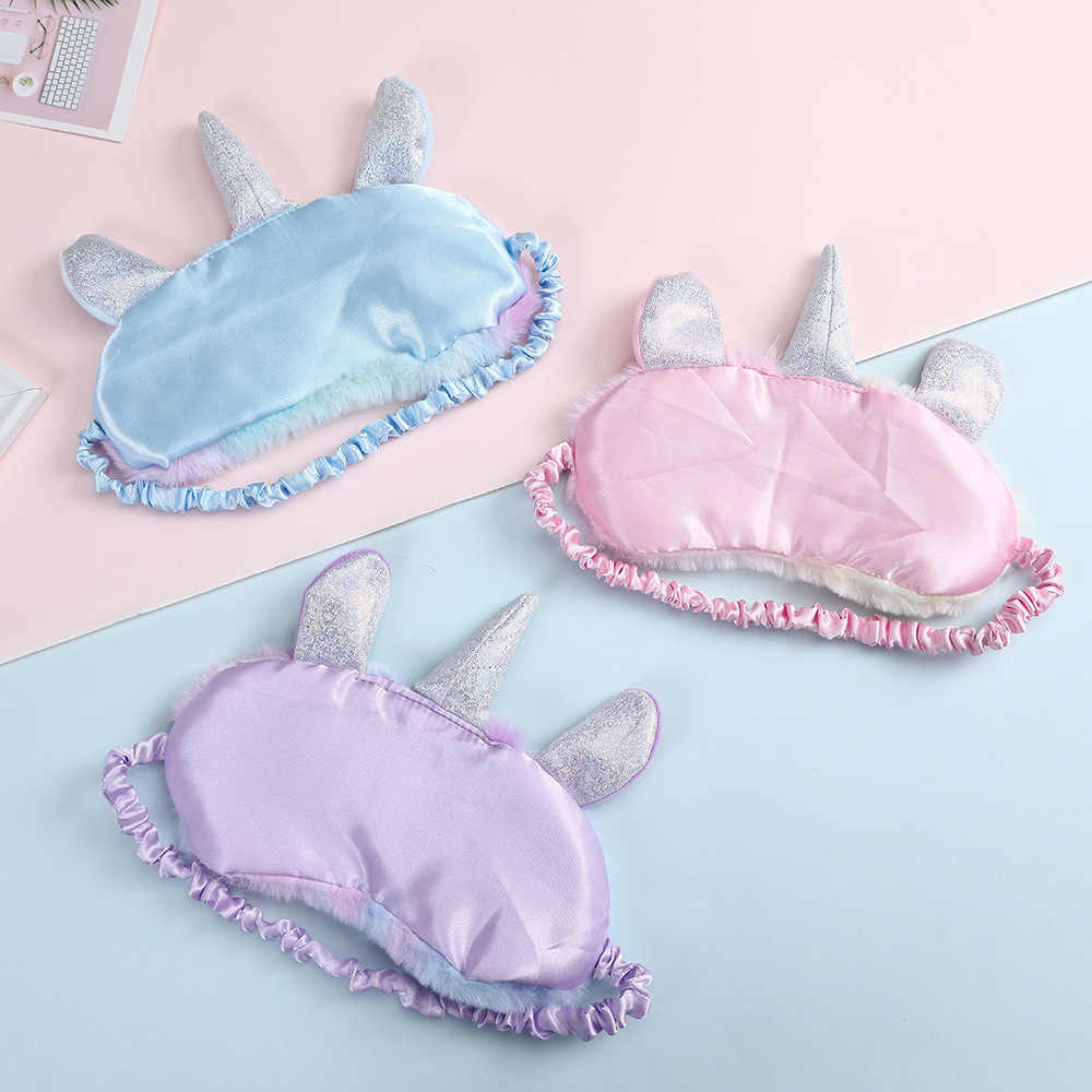 Máscara de Ojos de unicornio de seda suave para dormir, máscara de felpa para sombra de ojos, dibujos animados en 3D, máscara relajante para viajes, Fiesta en casa, regalos