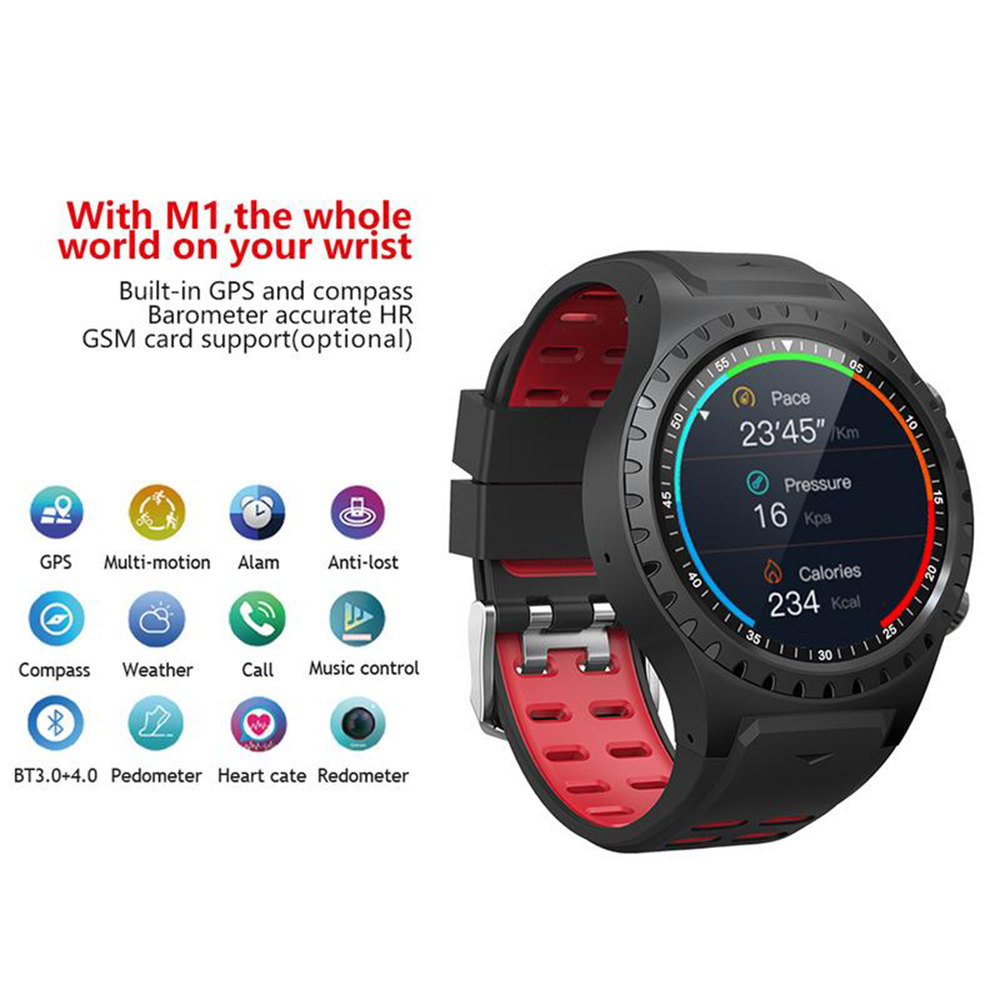 Mixace SMA-<font><b>M1</b></font> GPS Sports <font><b>Watch</b></font> Bluetooth Call Multi-Sports Mode Heart Rate Compass Altitude Sports Smart <font><b>Watch</b></font> for IOS Android image