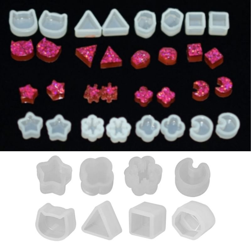 8 Pair/set UV Resin Silicone Molds DIY Crystal Epoxy Mold Small Earrings Stud Making Mould