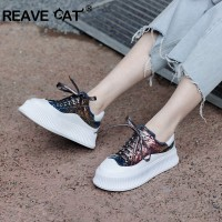 REAVE CAT Ins genuine leather Women Platform Chunky Sneakers bling Lace up Platform Shoes Woman lady thick bottom Daddy Shoes