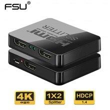 HDCP 4K HDMI ספליטר מלא HD 1080p וידאו HDMI Switch Switcher 1X2 פיצול 1 ב 2 מתוך מגבר תצוגה כפולה עבור HDTV DVD PS3 Xbox
