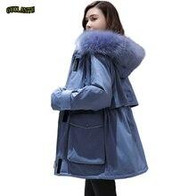 Mais tamanho oversized inverno para baixo algodão acolchoado jaqueta feminina grosso quente longo parka mujer 2019 grande gola de pele casaco com capuz feminino