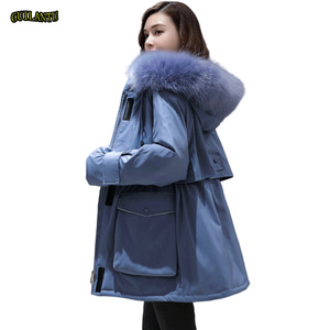Image 1 - Plus Size Oversized Winter Down Cotton Padded Jacket Women Thick Warm Long Parka Mujer 2019 Big Fur Collar Hooded Coat Female