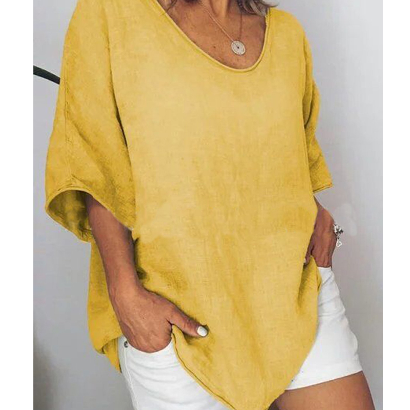 JODIMITTY 2020 Big Size Cotton Linen Loose Shirts Women Casual Short Sleeve V-Neck Summer Tops And Shirts Solid Color Tee Tops
