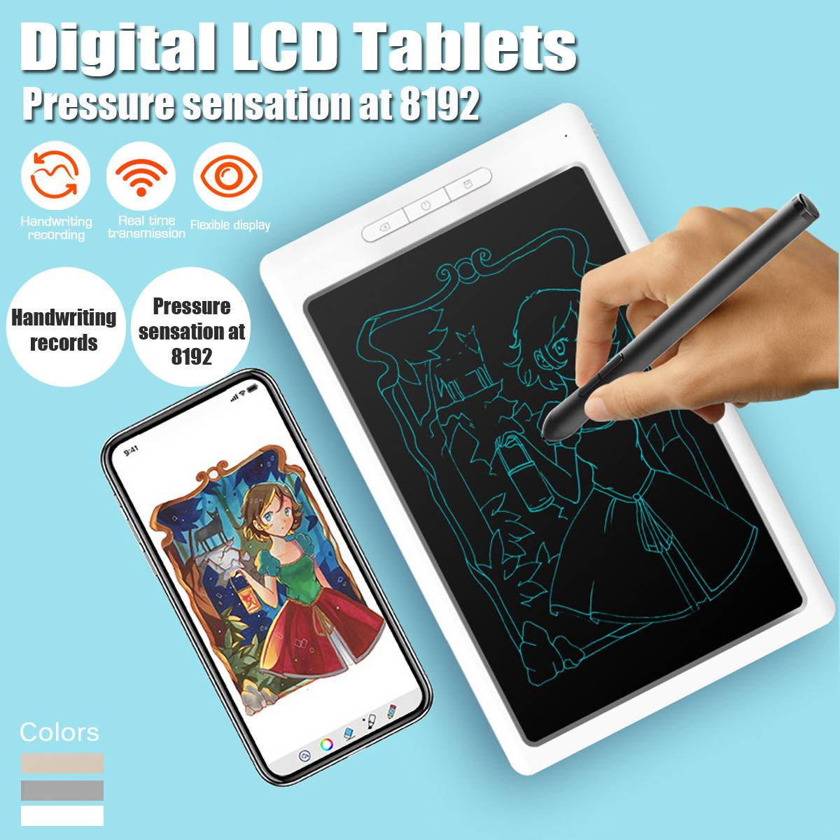 10'' bluetooth USB LCD Digital Anime Drawing Online Learn Graphics Tablet with Digital Pen Writing Tablet for Android for MAC
