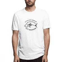 цена 100% cotton Father's Day Gift If You Can Think Of Better Fish Pun Let Minnow print casual mens o-neck t shirts fashion T-shirt онлайн в 2017 году