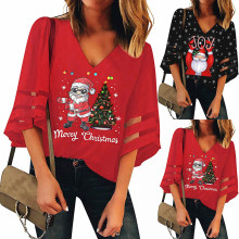 Blouse Women Shirt Women Tops блузка женская Christmas New Black Red V-Neck Mesh Top Trumpet Sleeves Loose Blouse Free Ship Z4